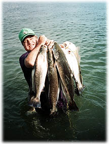 Speckled trout, redfish, and flounder are all plentiful in the Texas Mid Coast area, near Port O'Connor.